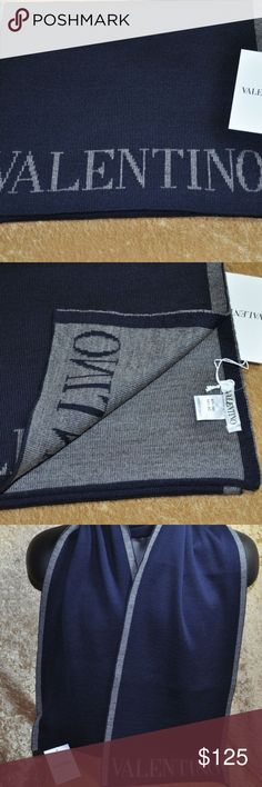 """NWT VALENTINO MEN'S SCARF NAVY AND DARK GRAY NWT.  VALENTINO NAVY BLUE WITH DARK GRAY TRIM AND VALENTINO LOGO 100% AUTHENTIC GUARANTEED!   100% AWESOME! 100% CLASSY!  MSP: $225.00  SCARF LENGTH:  37"""" FOLDED IN HALF.  NICE LENGTH TO BE CREATIVE:-) Valentino Accessories Scarves"""