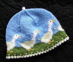 Ravelry: Olga-the-goose hat pattern by Christine de Savoie Baby Hats Knitting, Fair Isle Knitting, Knitting Charts, Knitting For Kids, Baby Knitting Patterns, Knitting Projects, Crochet Projects, Knitted Hats, Crochet Patterns