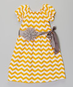 Look at this #zulilyfind! Yellow & White Chevron Dress & Sash - Toddler & Girls by Royal Gem #zulilyfinds