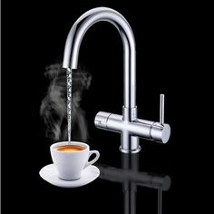 Vellamo Kahvi Instant Hot and Cold Kitchen Sink Mixer Boiling Tap with Boiler & Filter Unit - Brushed Nickel