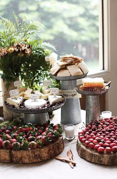 Love the idea of displaying the fruit and cheese on things like rustic trivets, and pretty vintage pans...gorgeous!