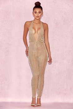 2688bdfe7be House of CB  Tabby  Gold Lurex Semi Sheer Jumpsuit S 8   10 MA