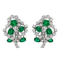 Betteridge: Betteridge Collection Emerald & Diamond 'Tree' Earrings