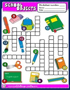 School objects worksheet English Teaching Materials, Learning English For Kids, English Teaching Resources, English Worksheets For Kids, English Lessons For Kids, Kids English, English Activities, Vocabulary Activities, Learn English
