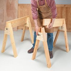 Stow-Away Sawhorses | Woodsmith Tips- I love the design of these- I can see making different versions of the crosspiece for other uses (like making a desk/table top with the cross pieces attached to the bottom.