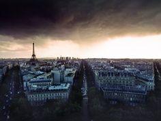 Rain Clouds Over Paris, France
