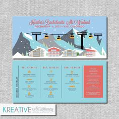 Bachelorette Party Ski Weekend Invitation with Itinerary - Winter - Personalized Printable File or Print Package Available by kreativees on Etsy Bachelorette Invitations, Bachelorette Weekend, Custom Invitations, Party Invitations, Email Invites, Ski Weekends, Ski Bunnies, Ski Girl, Print Packaging