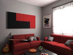 Punto de Decoración Serastone en   Rojo y Negro. Decoración Avanzada. Decoración de interiores. Para más info: http://www.serastone.com