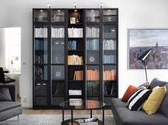 Ein Wohnzimmer mit BILLY Bücherregal in Schwarz und vernickelten LINDSHULT Schrankbeleuchtungen