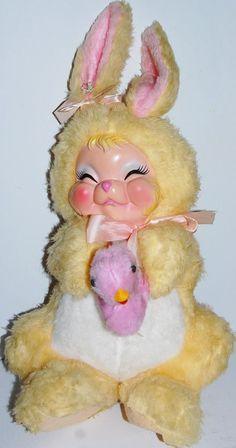 RARE Vintage yellow RUSHTON Rubber Face PLUSH stuffed GIRL BUNNY RABBIT w/Duck
