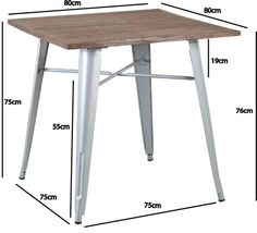 Silver Tolix Timber Top Table 80cm x 80cm - Buy Online - AFTERPAY Available, Perth, Sydney, Melbourne