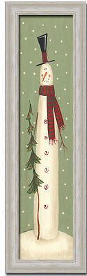 Snowman Christmas Tree Folk Primitive Art Print Framed