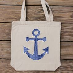 Summer Style - Anchor Tote Bag -  Nautical Blue Polka Dot by HandmadeandCraft on Etsy #summer #fashion
