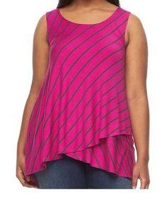 a380e96e4e9 NWT Womens Apt.9 Sleeveless Fuchsia Pink Tulip Hem Tank Top Shirt Plus Sz 2X  3X