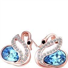 Saphire Genuine Swan Swarovski Crystal-Earrings