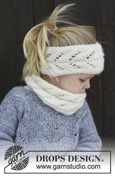 Knitting Blogs, Knitting For Kids, Knitting Patterns Free, Free Knitting, Baby Knitting, Drops Design, Toddler Headbands, Lace Headbands, Laine Drops
