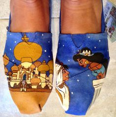 Disney inspired custom hand painted TOMS. Made by WhiskersandWine, $140.00 These are fantastic!