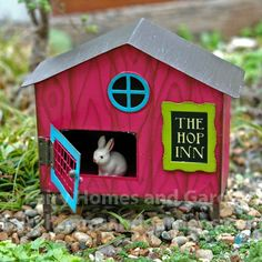 Fairy Homes and Gardens - The Hop Inn Bunny Hutch with Baby Bunny, $23.00 (http://www.fairyhomesandgardens.com/the-hop-inn-bunny-hutch-with-baby-bunny/)