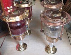 Nautical Vintage Marine Brass & Aluminum light 4 pcs