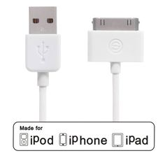 OPSO Apple Certified 4 Feet(1.2M) 30 Pin Connector to USB Sync and Charge Cable for Apple iPhone iPod iPad, White OPSO,http://www.amazon.com/dp/B009N72TAA/ref=cm_sw_r_pi_dp_KcPttb1T3ZW4649E