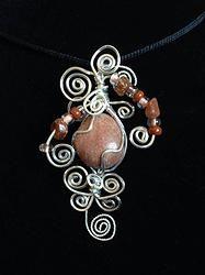 Sandstone Celestial Twirl wire wrap pendant