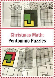 Christmas Pentomino Puzzle for Kids Math Manipulatives, Maths Puzzles, Puzzles For Kids, Educational Activities For Kids, Math Activities, Fun Learning, Math Crafts, Homeschool Math, Homeschooling