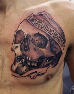"""Mens Quote #Tattoo """"Live Life With No Regrets"""""""