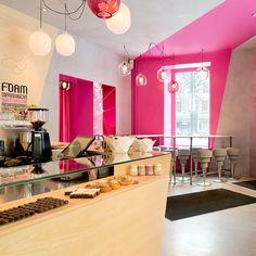 Café Foam, Coffee Shop Design by Note Design Studio Design Shop, Note Design Studio, Cafe Design, Cafe Bar, Cafe Restaurant, Restaurant Design, Cool Cafe, Coffee Shop Interior Design, Coffee Shop Design