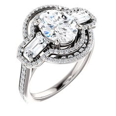 Diamond Engagement Rings : 2.0 Ct Oval Diamond Engagement Ring 14k White Gold Goldia.com