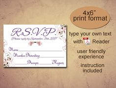 RSVP printable template Instant download diy editable pdf