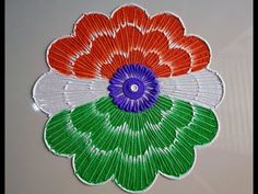 Beautiful rangoli design with peacock design by DEEPIKA PANT - YouTube Small Rangoli Design, Rangoli Designs With Dots, Rangoli Designs Images, Beautiful Rangoli Designs, Independence Day Images Download, Independence Day Wallpaper, 15 August Independence Day, 15 August Images, Indian Flag Wallpaper
