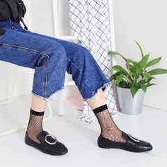 879ba2246 Women Fishnet Socks Breathable Ruffle Mesh Socks Punk Sexy Lace Ankle Sock  Mesh Socks