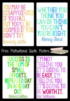 27 Classroom Poster Sets: Free and Fantastic - Motivational Quote Classroom Posters - Teach Junkie plakat Motivational Quotes For Students, Quotes For Kids, Quotes For The Classroom, Inspirational Classroom Quotes, Inspirational Classroom Posters, Math Quotes, Teacher Quotes, Positive Classroom Quotes, Inspiring Quotes
