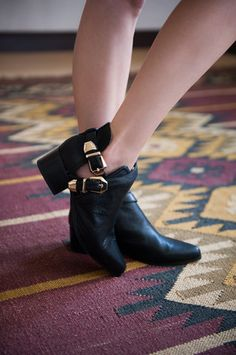 Wave Cut-Out Booties in Black Leather