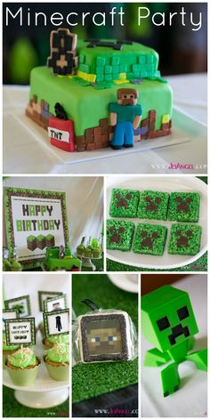 Awesome Minecraft party ideas for this boy birthday, including a fantastic Minecraft birthday cake! See more party ideas at CatchMyParty.com!