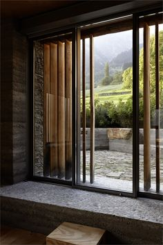 Barn Renovation, Soglio, Switzerland by: Ruinelli Associati Architetti Wooden Architecture, Contemporary Architecture, Architecture Details, Facade Design, Patio Design, House Design, Casa Patio, Patio Roof, Patio Privacy