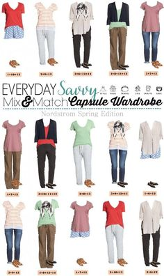 Spring Nordstrom Capsule Wardrobe - 15 Mix and Match outfits for spring that are comfy casual and cute! Fun style collection of easy fashion.