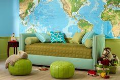 fun room idea... love the map wall  Cool Kids' Rooms   California Home + Design