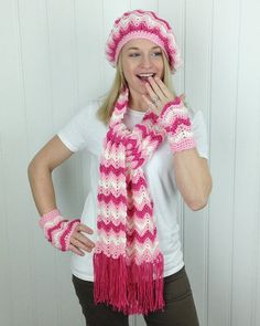 Picture of Vintage Ripple Hat, Scarf, Cowl & Fingerless Mittens Crochet Pattern
