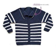 Chaqueta de punto marinera DIY - Tutorial y patrón Knit Vest, Baby Knitting, Knit Crochet, Pullover, Sweaters, Diy, Women, Lana, Patterns