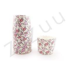 Confezione da 25 pirottini di carta tondi a fiori lilla con diametro base di 5 cm e top di 6 cm
