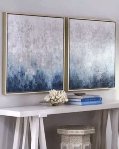 """Frost on Sapphire"" 2 Piece Set Framed Original Paintings"