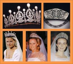 Tiaras belonging to the Alba family, Spain. The Duchess of Alba had the most noble titles of anyone in the world.
