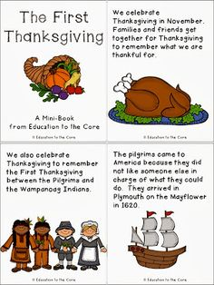 Teach Your Child To Read - Education to the Core: Thanksgiving Literacy Activity and a FREEBIE Mini-Book! - Teach Your Child To Read Thanksgiving Preschool, First Thanksgiving, Thanksgiving Prayer, Thanksgiving Appetizers, Thanksgiving Outfit, Thanksgiving Decorations, Thanksgiving Recipes, Pilgrims Thanksgiving, Thanksgiving History