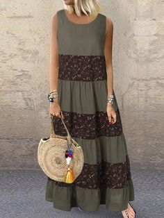Fashion O-NEWE Vintage Floral Patchwork Sleeveless Plus Size Dress for Women - NewChic Mobile Plus Size Vintage Dresses, Plus Size Dresses, Casual Dresses, Fashion Dresses, Mode Outfits, Boho Chic, Lace Skirt, Womens Fashion, 70s Fashion
