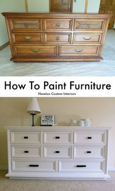 To Paint Furniture - Learn how to paint furniture with this step-by-step tutorial. Many tips for how to get a smooth finish.How To Paint Furniture - Learn how to paint furniture with this step-by-step tutorial. Many tips for how to get a smooth finish. Refurbished Furniture, Repurposed Furniture, Weathered Furniture, Vintage Furniture, Furniture Dolly, Farmhouse Furniture, Whitewash Furniture, Upcycled Furniture Before And After, Victorian Furniture