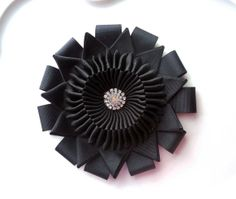 Millinery Ribbon Cockade flower -Vintage and Military Inspired Black with Silver diamond center.