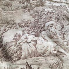 FleaingFrance.....early 1900s toile fabric panels