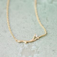 Branch With Crystal Necklace In Gold on Luulla