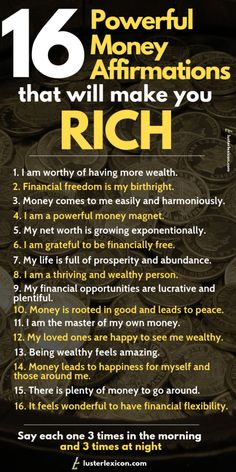 16 Powerful Money Affirmations that will make you Rich Ready to achieve your financial dreams? These 16 powerful money affirmations will propel you to take inspired action and make you wealthy in the process. Affirmations Positives, Positive Affirmations Quotes, Wealth Affirmations, Morning Affirmations, Affirmation Quotes, Quotes Positive, Affirmations For Money, Positive Thoughts, Strong Quotes